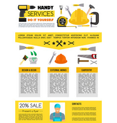 Landing page for home repair handy service vector
