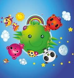 Happy World Animals Characters vector image