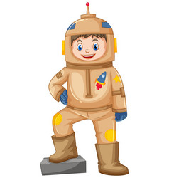 Happy boy in brown spacesuit vector