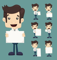 Set of businessman holding blank notes characters vector