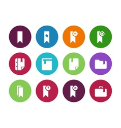 Bookmark tag circle icons on white background vector image