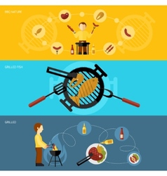 Bbq grill banner set vector