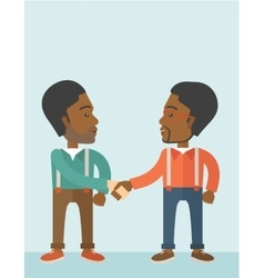 Two african-american guys happily handshaking vector