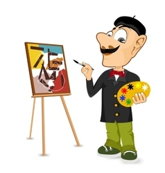 Happy male painter artist with mustache vector