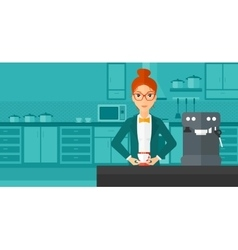 Woman making coffee vector