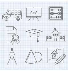 Back to school theme thin line icons vector