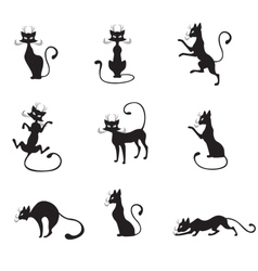 Black graceful cats vector