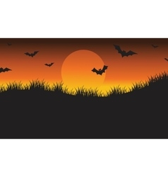 Halloween silhouette bat flying vector image