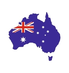 Australia map with the image of the national flag vector image vector image