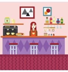Bakery and coffee shop cafe interior vector