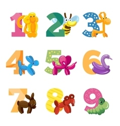 Birthday anniversary cartoon numbers with cute vector