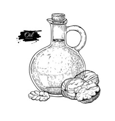 Bottle of walnut oil hand drawn vector