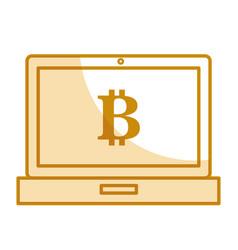 Computer laptop with bitcoin symbol vector