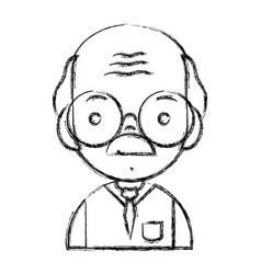 Figure old man teacher with glasses and uniform vector