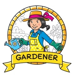 Funny woman gardener Emblem Profession series vector image