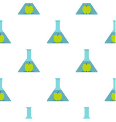 Green apple in glass test flask pattern flat vector