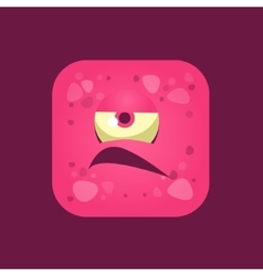 Grumpy pink monster emoji icon vector