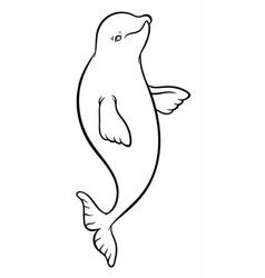 Happy smiling beluga whale cartoon vector