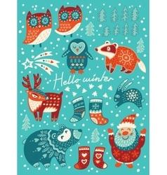 Hello winter card christmas set with cartoon vector