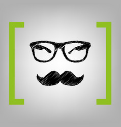 Mustache and glasses sign black scribble vector
