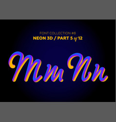 Neon 3d typeset with rounded shapes font set vector
