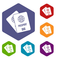 Passports with map icons set vector