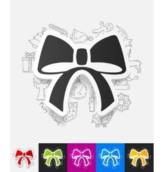 Ribbon paper sticker with hand drawn elements vector