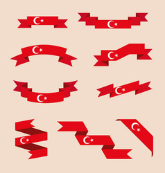Ribbons or banners in colors of turkish flag vector
