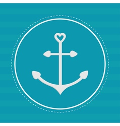 Round label with anchor in shapes of heart dash vector