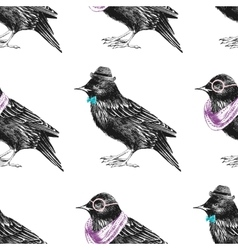 seamless pattern with dressed up starling vector image vector image