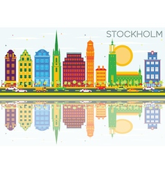 Stockholm Skyline with Color Buildings vector image vector image