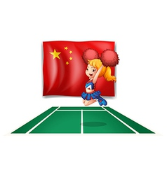 The flag of china and the young cheerdancer vector