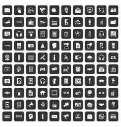 100 audio icons set black vector