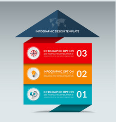 Infographic arrow design template with 3 options vector image