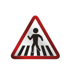 Caution sign crosswalking pedestrian vector