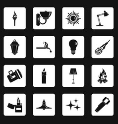 light source symbols icons set squares vector image