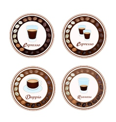 Four type of hot coffee in retro round label vector