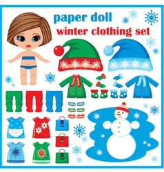 Paper doll with winter clothes set vector image