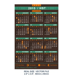Calendar 2015 with phases of the moon hst vector