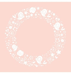 Love birds and flowers nature circle frame border vector