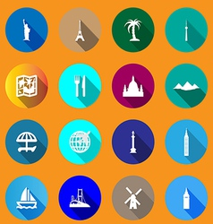 Flat icons for travel vector