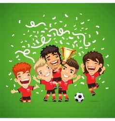 Happy soccer champions with winners cup vector