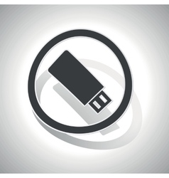 USB stick sign sticker curved vector image