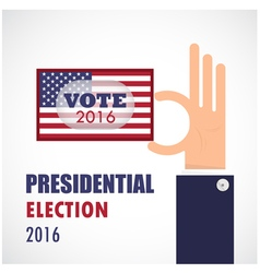 Voting conceptbusinessman hand and voting paper vector