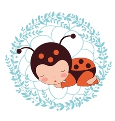 A beautiful ladybug baby card vector
