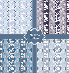 Set of seamless ornamental pastel patterns vector
