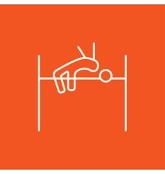 High jump line icon vector