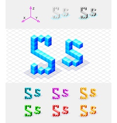 Isometric font from the cubes Letter S vector image