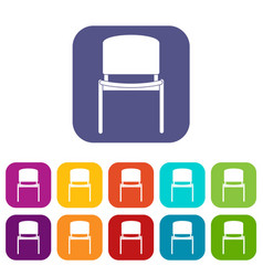 Black office chair icons set flat vector
