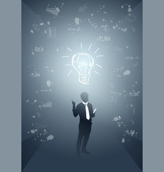 Business man silhouette light bulb new idea vector